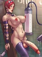 Slutty anime shemale spraying sperm